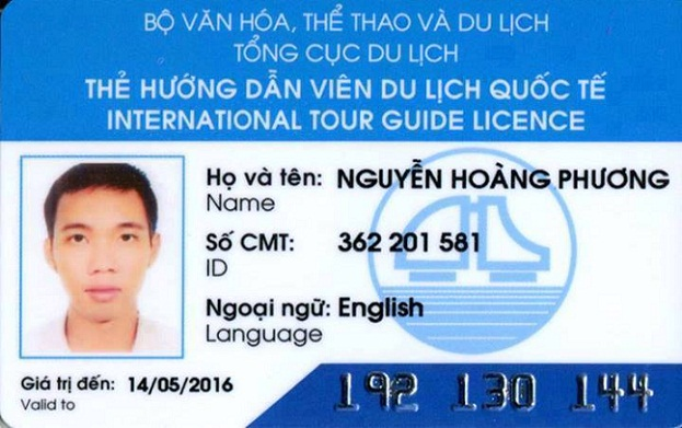 Carte de licence de guide international du Vietnam - Prix guide francophone au vietnam