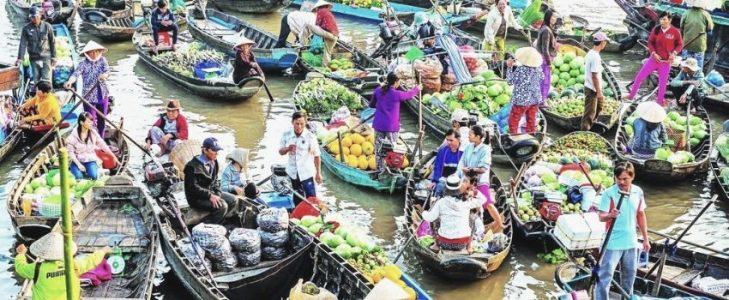 Marché flottant Delta du Mékong